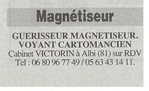Guérisseur, Magnétiseur, Voyance, voyant, cartomancien,Albi,Tarn,81,au cabinet sur rendez-vous, revue hebdo,janvier 2015,Laurent VICTORIN